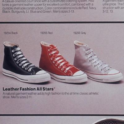 69f2404d 1986 год–начинается выпуск классических Converse Chuck Taylor All Star  Leather в кожаном исполнении самых различных цветов,красные, серые,черные,  бордовые, ...